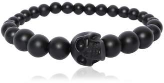 Alexander McQueen Skull Onyx Beaded Bracelet