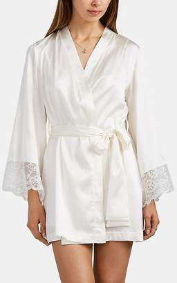 GILDA & PEARL Women's Rita Lace-Trimmed Charmeuse Short Robe - White