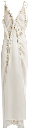 ATTICO Marisa flower-appliqué silk dress