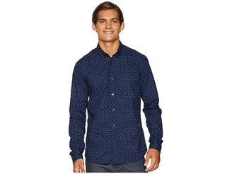Scotch & Soda Ams Blauw Slim Fit Simple Lightweight Printed Shirt