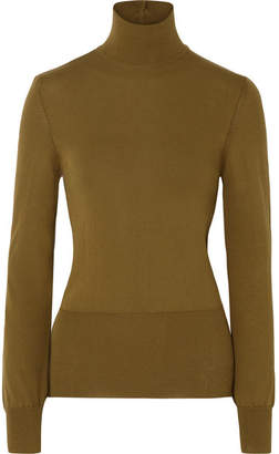 Jacquemus Baya Cutout Cotton-blend Turtleneck Sweater - Army green