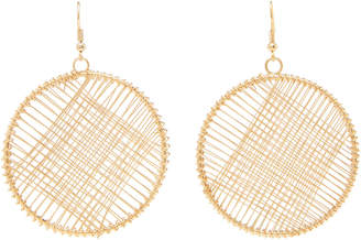 Kenneth Jay Lane Gold-Tone Wire-Wrapped Circle Drop Earrings