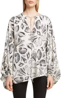 Alexander McQueen Shell Print Silk Blouse