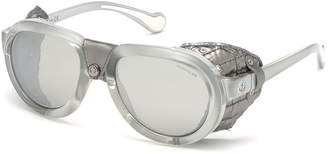 Moncler Men's Round Mirrored Sunglasses w/ Leather Side Blinders