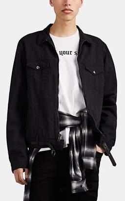 RtA Men's Belted Zip-Front Denim Trucker Jacket - Black