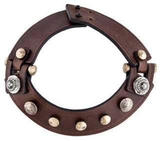 Lanvin Leather Stud Choker Brown Leather Stud Choker
