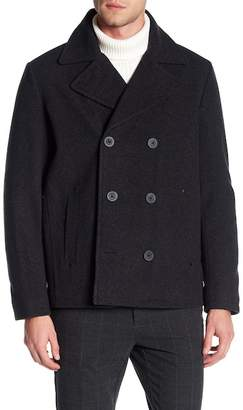 Kenneth Cole New York Double Breasted Wool Blend Peacoat