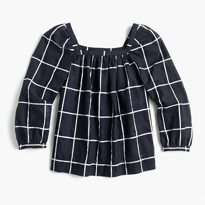 J.Crew Petite Penny windowpane top with cuffed sleeves