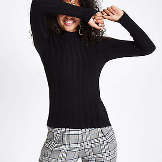 River Island Black knit ribbed high neck top