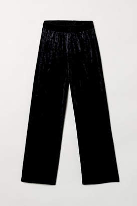 H&M Wide-cut Pull-on Pants - Black