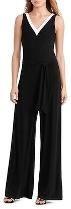 Lauren Ralph Lauren Contrast V-Neck Jumpsuit $155 thestylecure.com