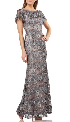 JS Collections Embroidered Overlay Illusion Lace Evening Dress