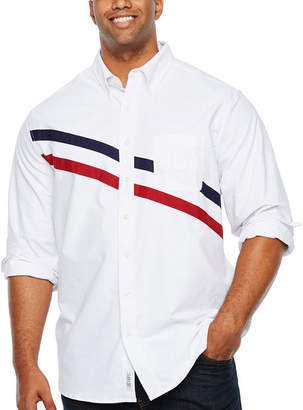U.S. Polo Assn. USPA Mens Y Neck Long Sleeve Striped Button-Front Shirt Big and Tall