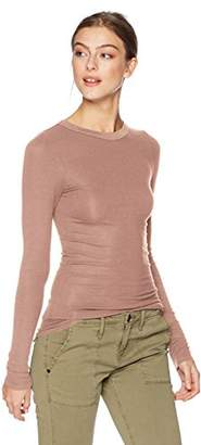 Enza Costa Women's Rib Fitted Long Sleeve Crew Neck Top