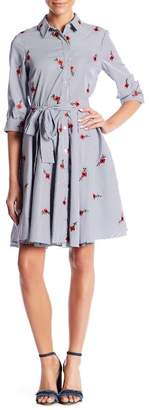 Betsey Johnson Embroidered 3/4 Sleeve Shirtdress