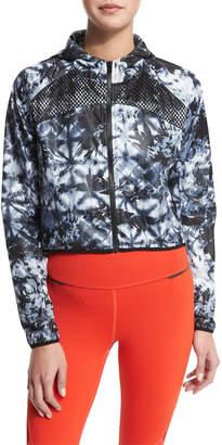 Neiman Marcus Alala Woven Mesh-Inset Athletic Zip Jacket, Palm Shadow