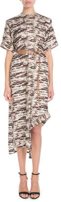 Victoria Beckham Short-Sleeve Camo-Print Shift Midi Dress w/ Leather Belt