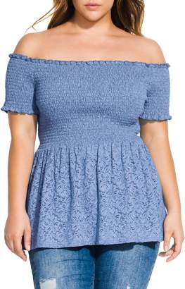 City Chic Smocked Off the Shoulder Lace Peplum Top