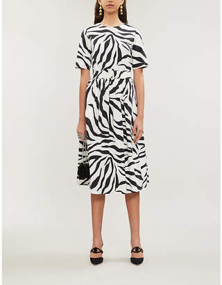 Oscar de la Renta Zebra-print short-sleeved cotton-blend midi dress
