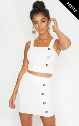 PrettyLittleThing Petite White Button Detail Mini Skirt