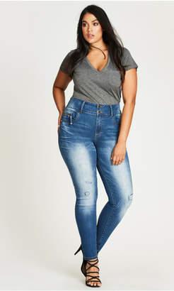 City Chic Distressed Skinny Asha Jean