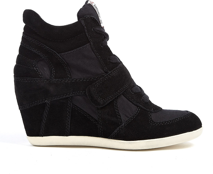 Ash Black Suede And Canvas Bowie Wedge Trainers