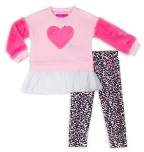 Betsey Johnson Baby Girl's Two-Piece Faux Fur Heart Tutu Sweater & Leggings Set