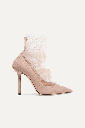 Jimmy Choo Lavish 100 Glittered Tulle And Suede Pumps - Antique rose