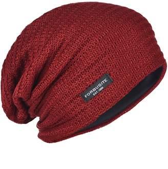 170b8f6a419 FORBUSITE Mens Slouchy Knit Beanie Summer Winter Skullcap Hats B306 Purple