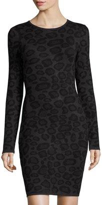 John & Jenn Leopard-Print Long-Sleeve Knit Dress, Gray $116 thestylecure.com