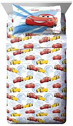 Disney Pixar Cars 3 Movie High Tech White/Yellow/Red 3 Piece Twin Sheet Set with Lightning McQueen and Cruz Ramirez (Official Pixar Product)