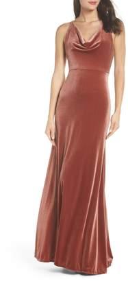 Jenny Yoo Sullivan Velvet Cowl Neck Gown