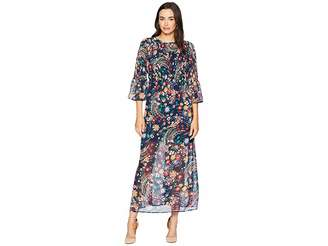 ECI Paisley Print Smocked Chiffon Maxi Women's Dress