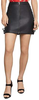 BCBGMAXAZRIA Lace-Up Faux Leather Mini Skirt