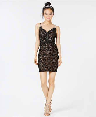 City Studios Juniors' Crystal Lace Bodycon Dress