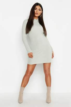 boohoo High Neck Long Sleeve Ribbed Mini Dress