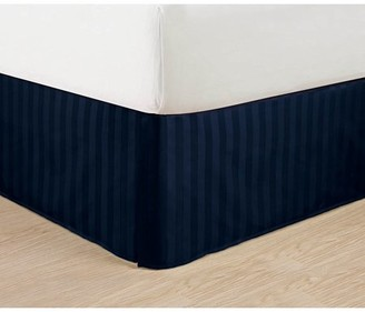"""Elegant Comfort Wrinkle Free - STRIPE Bed Skirt - Pleated Tailored 14"""" Drop - All Sizes and Colors , King, Navy Blue"""