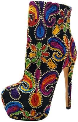 de1b565477ea KingRover Women s Mixed Colors Zipper Stilettos High Heels Platform Party  Work Ankle Boots