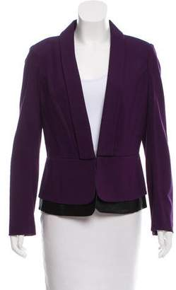 Laundry by Shelli Segal Vegan Leather-Accented Shawl Collar Blazer