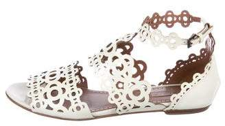 Alaia Patent Leather Laser Cut Ankle Strap Sandals