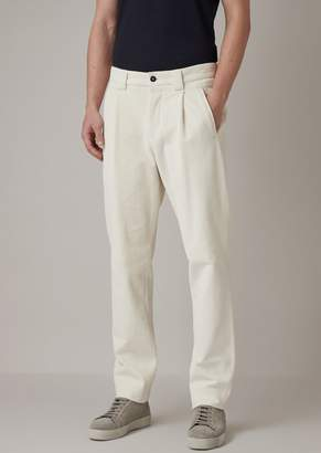 Giorgio Armani Oversized Pants In Garment-Tumbled Seersucker Corduroy Velvet