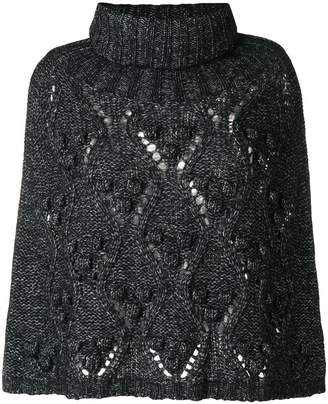 Twin-Set turtleneck chunky knit cape