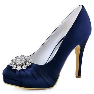 ElegantPark EP2015-NW Women High Heel Platform Pumps Closed Toe Buckle Satin Dress Wedding Shoes Navy Blue US 4