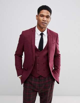 Asos DESIGN Skinny Blazer In Berry 100% Wool