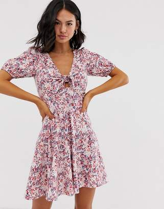 Asos Design DESIGN tie front mini tea dress with puff sleeves in vintage floral