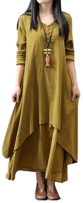 Tomteamell Women Vintage V Neck Two-layer A-line Loose Cotton Linen Long Dress XS