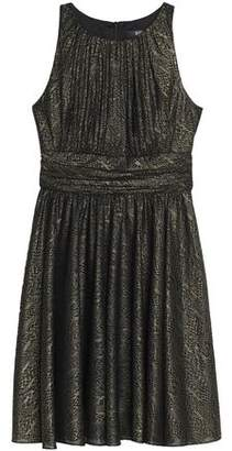 Badgley Mischka Pleated Metallic Jacquard Dress
