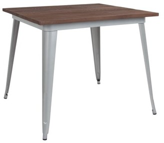 """Flash Furniture 36"""" Square Silver Metal Indoor Table with Walnut Rustic Wood Top"""