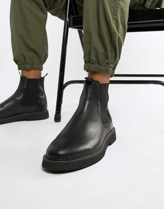 Asos Design DESIGN chelsea boots in black leather with chunky sole