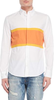 Desigual White Sunrise Stripe Regular Fit Sport Shirt